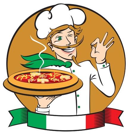 italienisches essen: Italienische K�chenchef mit Pizza Illustration