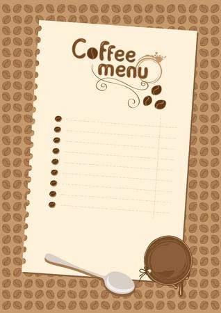 postre: de caf� lista del men� Vectores