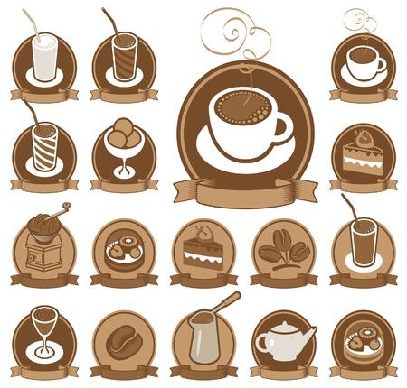 cacao: conjunto de iconos para la cafetería Vectores