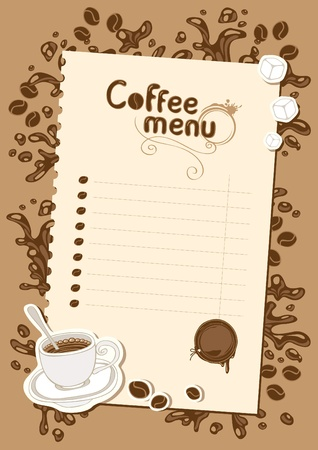 menu list for hot chocolate and coffee  Vector