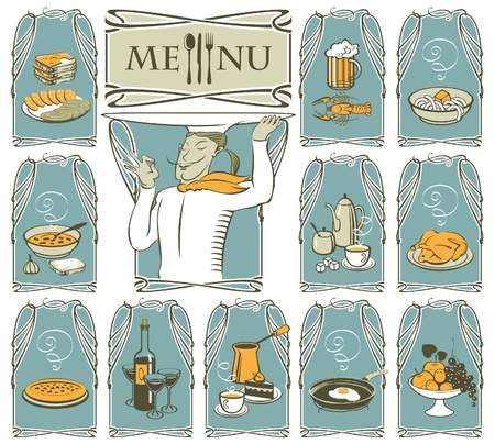 cook and different dishes  Vector