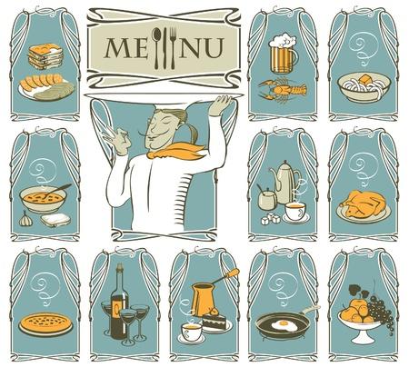 pietanza: cucinare e piatti diversi Vettoriali