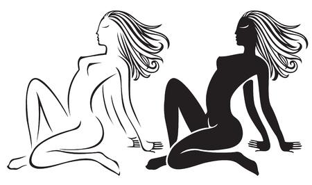 naked girl: two nude girl silhouette Illustration