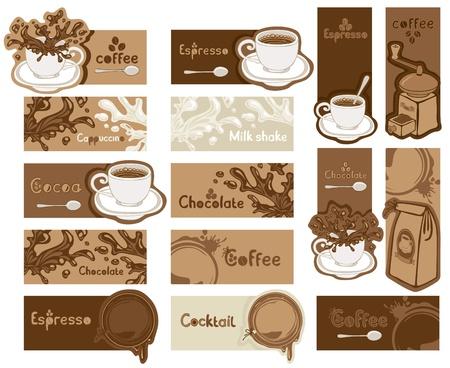 Verschillende koffie banners