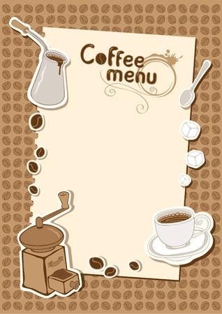 molinillo: menú con una taza de molino de azúcar y el café Vectores