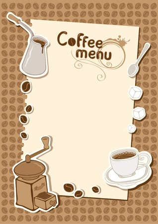 print shop: menu with a cup of sugar and coffee grinder  Illustration