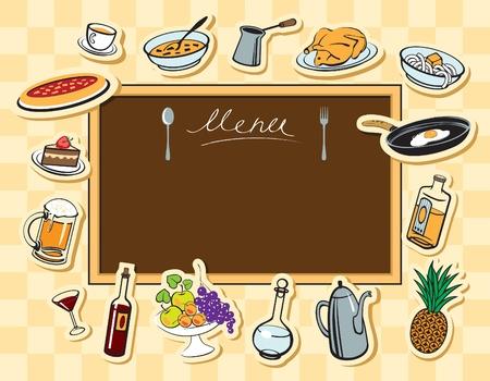 soup spoon: het menu bestuur en diverse eten en drinken Stock Illustratie
