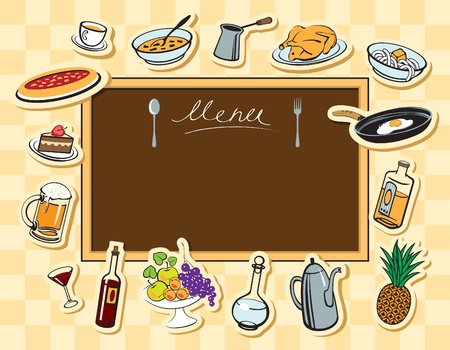 menu board and various food and drink  Vector