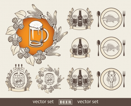 snacks: set of images with a beer and a fish  Illustration