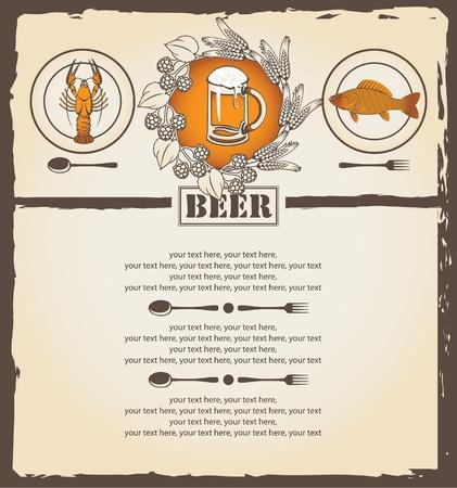 menu for beer  Vector