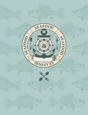 fish menu with the emblem of sail and anchor  Vector