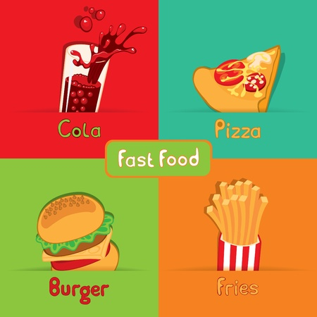 burger and fries: fast food from the four food  Illustration