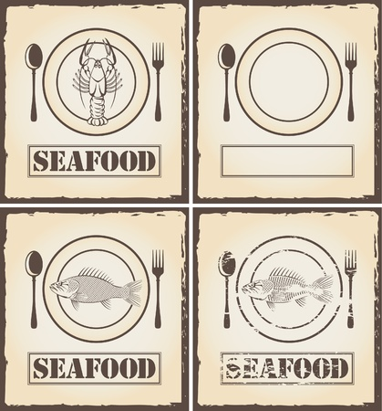 Banners with fish and lobster  Vector
