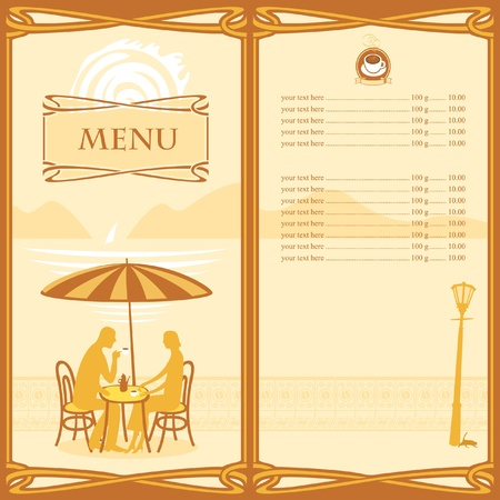 Menu for sidewalk cafe  Vector