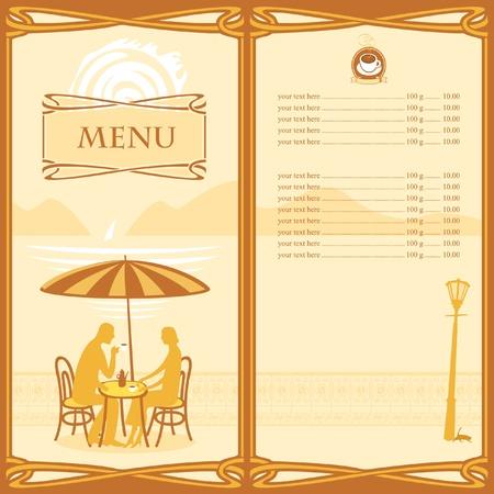 cartoon menu: Menu for sidewalk cafe  Illustration