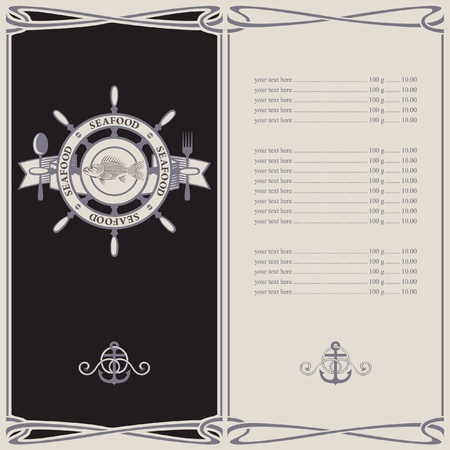 menu with the wheel anchor and fish skeleton