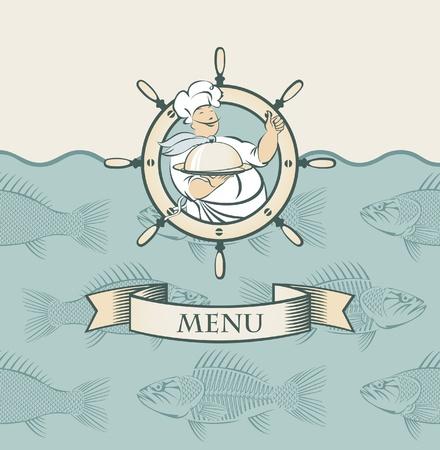 banderole avec le cuisinier et les poissons dans la mer Vecteurs