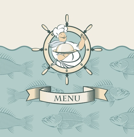 banner with cook and the fish in the sea  Stock Vector - 11651001