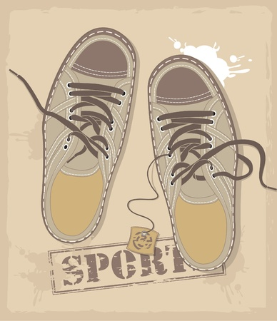 athletic shoes with room for labels Vector