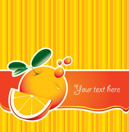 background with an orange slice and spray juice Vector