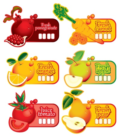 six price tag for juice and fresh juices  Vector