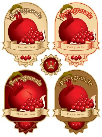 banner with pomegranate and a slice  Vector