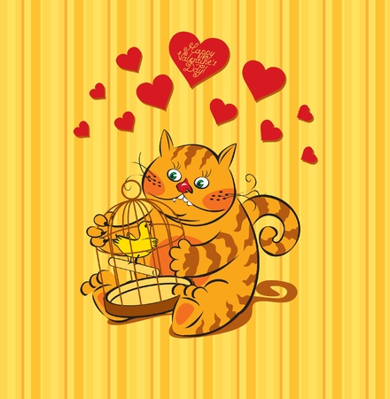 card with a cat lover for Valentine's Day  Vector
