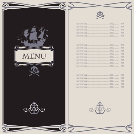 jolly roger pirate flag: menu on the pirate theme