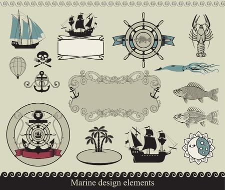 calamar: elementos de dise�o a la tem�tica marina Vectores