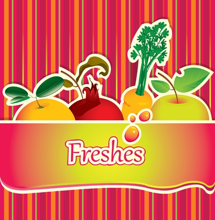 background for juice and fresh with fruit  Vector
