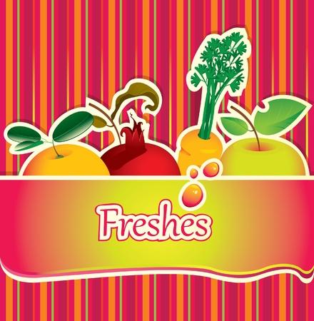 fruit drink: sfondo per il succo e con frutta fresca Vettoriali