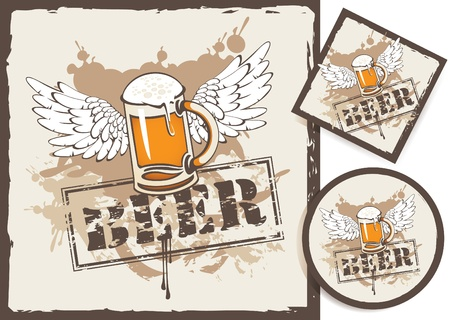 banner and two beer coasters Vector