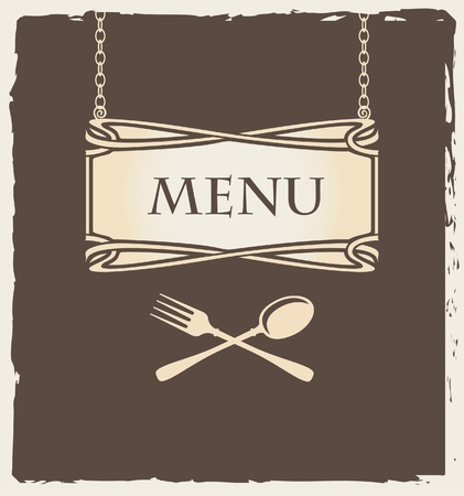 stoneware: menu with fork and spoon