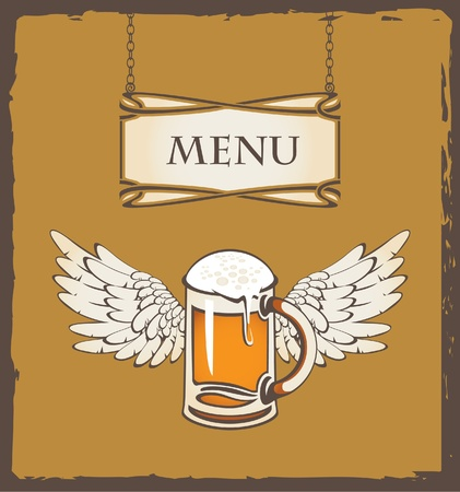menu with a glass of beer and wings  Vector