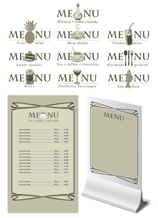menu on the bar for different dishes  Vector