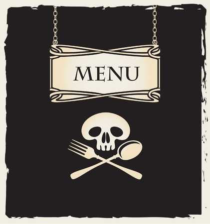 Cover for a menu with a human skull with a spoon and fork  Vector
