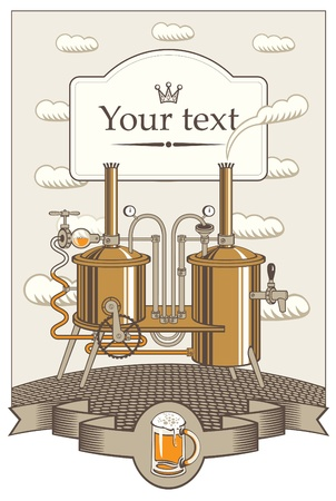 keg: menu for a small brewery in the landscape with clouds  Illustration
