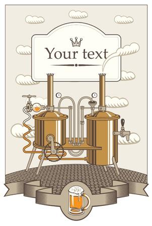 brouwerij: menu voor een kleine brouwerij in het landschap met wolken