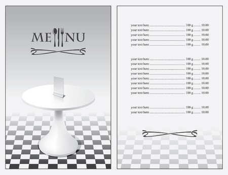 menu with a table on the floor of checkered  Vector
