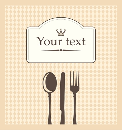 menu on beige background in a cage with cutlery  Vector