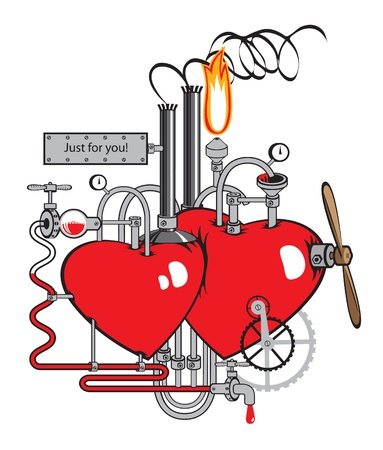love factory. Two hearts connected by different mechanisms and pipes  Stock Vector - 12022409