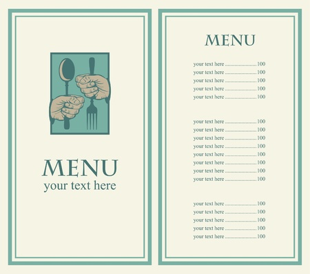 menu with your hands and utensils Vector