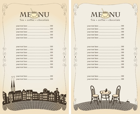 menu restaurant: menu for summer cafe with city and the bridge