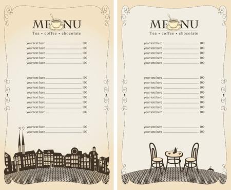 menu restaurant: menus pour les caf�s d'�t� avec la ville et le pont