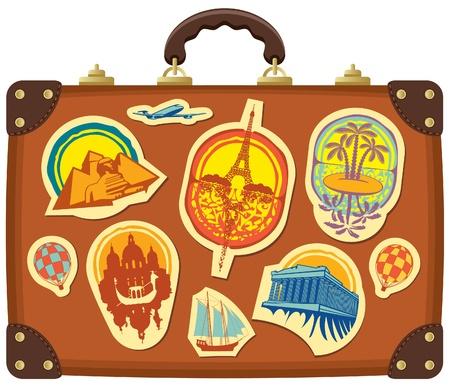 Reis koffer met stickers van verschillende steden Vector Illustratie