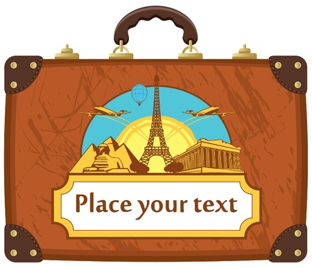 travel suitcase with various tourist attractions  Vector