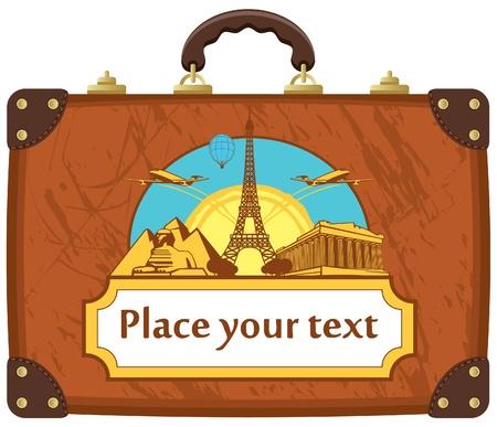 agencia de viajes: viajes maleta con varias atracciones tur�sticas Vectores