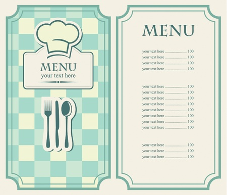 menu vintage: green menu for a cafe or restaurant