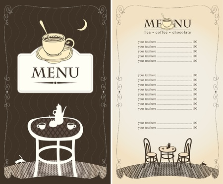 moon chair: menu for the night cafe with moon and cat