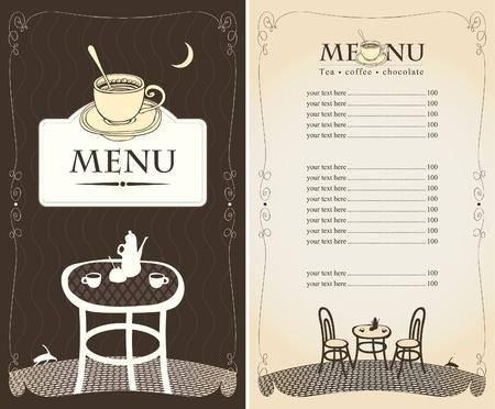 menu per il caffè notturno con la luna e il gatto